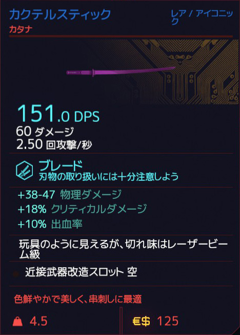 Cyberpunk 2077 COCKTAIL STICK